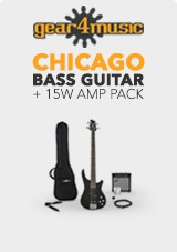 Chicago Bass Guitar + 15W Amp Pack, Black